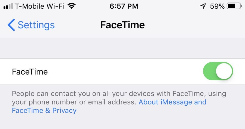 Disable Facetime